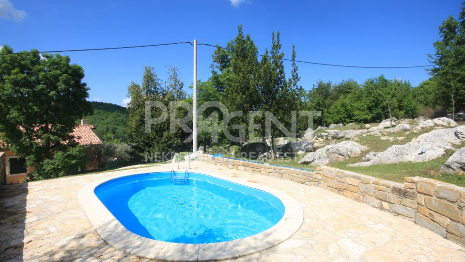 Istra, uređena stara kamena kuća s bazenom i novogradnja u Roh-bau fazi