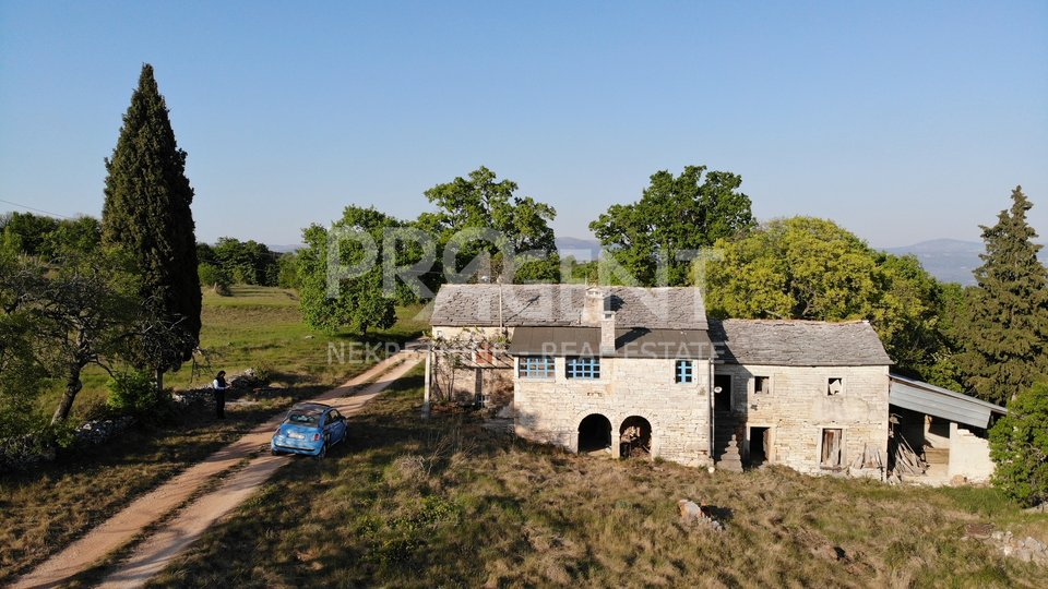 Oprtalj, Istrian stone house with 5.3 ha of land
