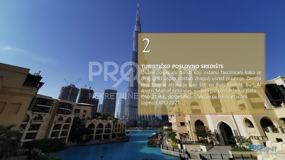 Dubai, two bedroom apartment with a view of the Burj Khalifa